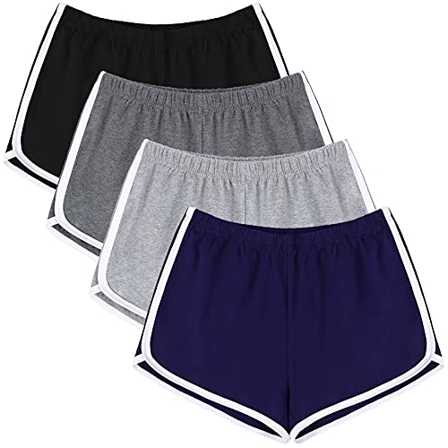URATOT 4 Pack Yoga Short Pants Cotton Sports Shorts Gym Dance Workout Shorts Dolphin Running Athletic Shorts for Women