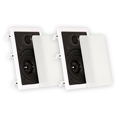 "Theater Solutions TS65W in Wall 6.5"" Speakers Surround Sound Home Theater Pair, White"