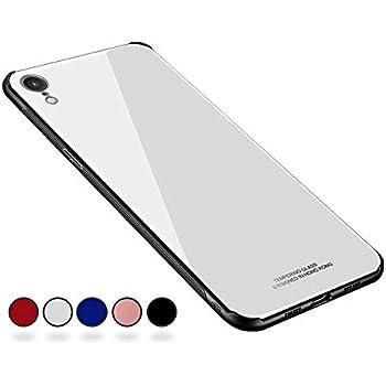 【SUMart】 iPhoneXR ケース, 強化ガラスケース レンズ保護 耐衝撃 極薄 耐久 ハードケース Qi充電対応 アイフォンXR ケース (iPhoneXR 6.1インチ, ホワイト)