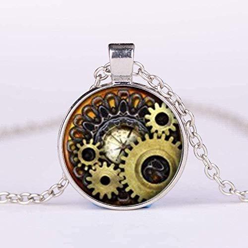 WSBDZYR Co.,ltd Collar de Moda para Mujer Collar Vintage Mecánico Gear Art Picture Glass Gem Colgante Collar Steampunk Relojes de Bolsillo Reloj Forma Collar de Cadena Larga