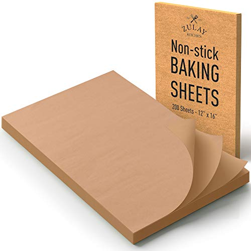 Zulay 200 Pieces Unbleached Parchment Paper For Baking - 12x16 Inches Pre-Cut Parchment Paper Sheets For Half Sheet Pans - Non-Stick Parchment Sheets For Air Fryer, Steaming, Baking, Wrapping & More