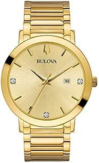 Bulova 97d115Mens moderno Gold-tone Reloj de diamantes w/Fecha