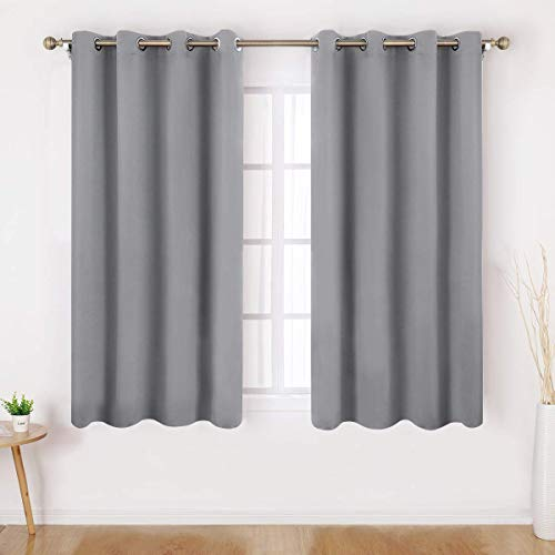 HOMEIDEAS Blackout Curtains for Bedroom 52 X 63 Inch Length 2 Panels Set Light Grey Room Darkening Curtains/Drapes, Soundproof Thermal Grommet Window Curtains for Living Room
