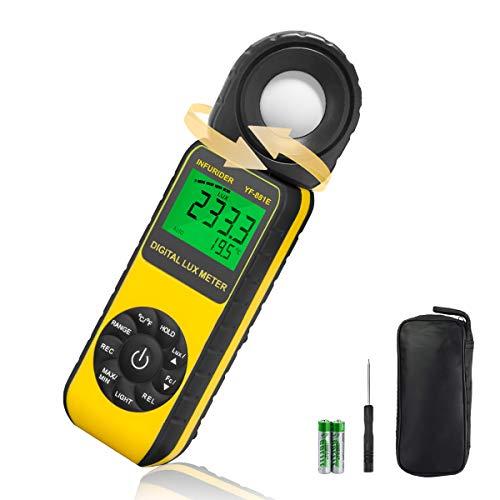 Luxometro Profesional INFURIDER YF-881E Fotómetros Digital Temperatura, Light Meter con LUX / FC + ℃ / ℉ + 270° de Rotación + Max/Min Ideal para Cultivo de Plantas y Quirófano