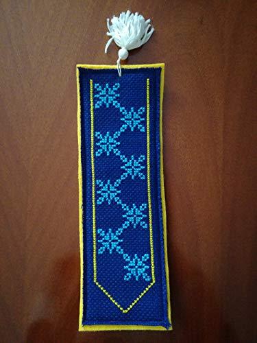Segnalibro in feltro giallo - punto croce - cross - stitch - blu - fiocchi - neve