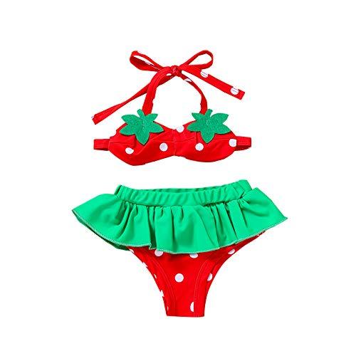 I3CKIZCE Disfraces de baño para bebé de 0 a 18 meses, 2 piezas, bikini, tankini de fresa sin mangas, con lazo, pantalones cortos, lindos, clásicos, para verano, piscina o playa Rosa 6-12 Meses