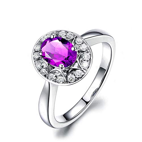Adokiss Jewellery Sterling Silver Ring Band for Women, 4 Claw Oval Purple Cubic Zirconia with White Round CZ Engagement Ring Women, Silver, Size J 1/2
