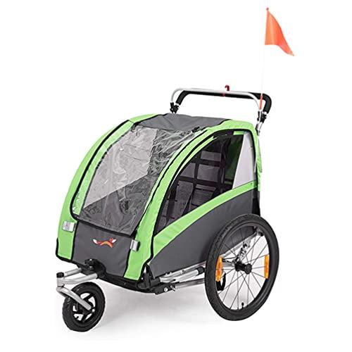 Sepnine Remorque Velo Enfants Convertible Jogger Remorque À Vélo 2 en 1 pour Remorque Velo Enfants 2 Places Vert