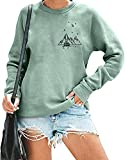 Mountain Printed Sweatshirt for Women Long Sleeve Camping Travel Graphic Pullover Shirt Hiking Vacation Shirt Tops (Light green, small, s)