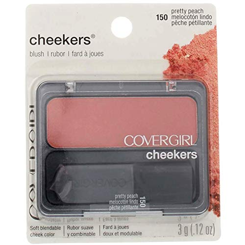 CoverGirl Cheekers Blush, Pretty Peach [150], 0.12 oz (Pack of 3)