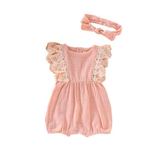 LEXUPE Säugling Kinder Baby Mädchen Spitze gekräuselten Strampler Bodysuit Haarband Outfit Sommer(Rosa,12)