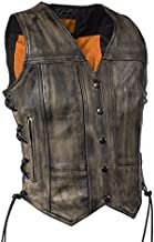 Womens Distressed Brown Naked Leather Motorcycle Vest with Gun Pockets (3XL, Brown)
