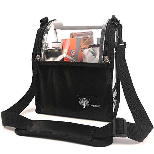 Portable Multipurpose Clear Bag Makeup Cosmetic Case Organizer Travel Makeup Box PVC Dust-Free Storage Bag With Adjustable Shoulder Strap And Dividers For Makeup Brushers Toiletry Accessories (Black)