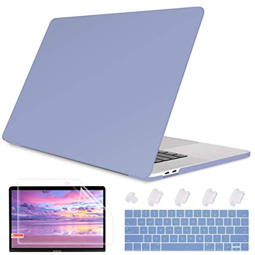 May Chen Laptop Case for MacBook Pro 13' (2019/2018/2017/2016) w/Keyboard Cover and Screen Protector Plastic Hard Shell Case A2159/A1989/A1706/A1708 Touch Bar 3 in 1 - Lavender Grey