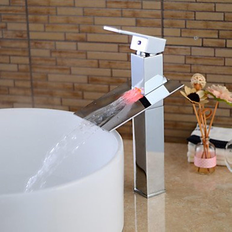 SQL Zeitgenssische verchromtem Messing Einhand Wasserfall Waschbecken Wasserhahn mit LED Licht-Silber