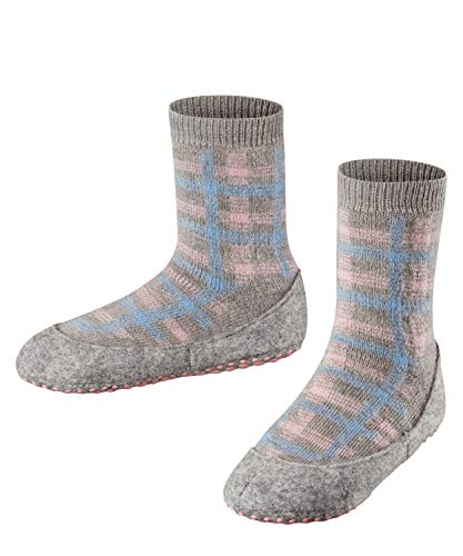 FALKE Unisex Kinder Checked Cosyshoe K HP Hausschuh-Socken, Grau (Light Grey 3400), 27-28