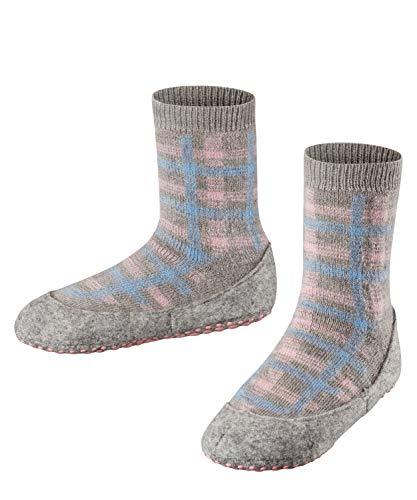 FALKE Haussocken Chequed Schurwolle Kinder grau blau viele weitere Farben verstärkte Hüttensocken mit Muster atmungsaktiv kariert mit Noppendruck rutschhemmend auf der Sohle 1 Paar