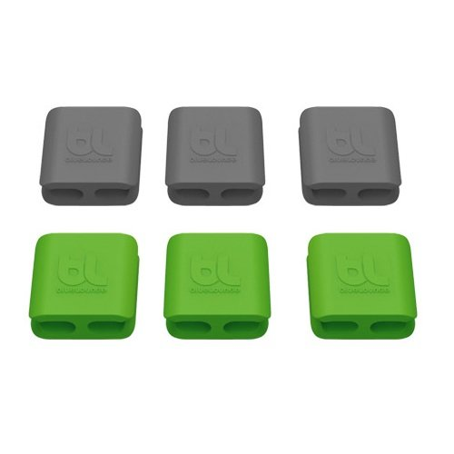 Bluelounge Small CableClip, Cable Management System in Grey & Green - 6 Pack