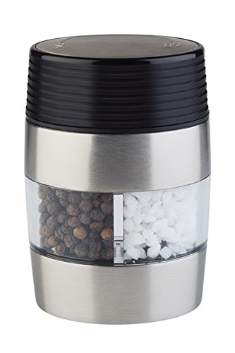 APS 2 in 1 Salz- und Pfeffermühle, Menage-Set in einer Mühle, Salz- und Pffefferkombination in einem, Keramik-Mahlwerk, 5 x 6,5 cm, 10 cm Höhe