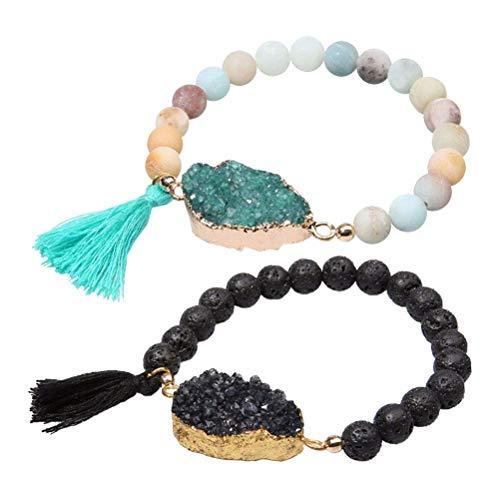 LIXBD Lot de 2 bracelets en pierres volcaniques avec pampille en cristal naturel pour femme
