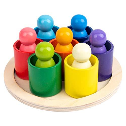 Tomaibaby Muñecas con Clavija de Arcoíris Paquete de 6 Muñecas con Figuras de Madera Coloridas Juego de Simulación Figuras de Personas para Niños Pequeños Juguetes Educativos de Aprendizaje
