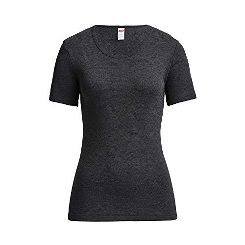 con-ta Thermo Kurzarm Shirt, T-Shirt mit natürlicher Baumwolle, wärmende Unterwäsche für Damen, Rundhalsausschnitt, Damenbekleidung, schwarz Melange, Größe: 40
