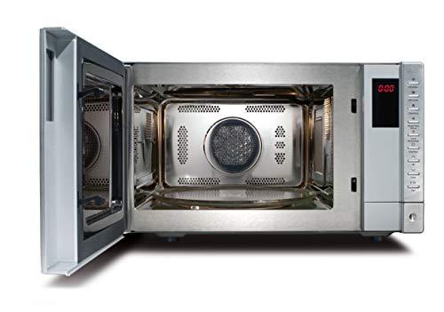 CASO HCMG25 Design Mikrowelle mit Grill und Heißluft, Backen bis 240°C, Microwelle 900 Watt, Grill 1100 Watt, ca. 25 Liter Garraum, Front Edelstahl gebürstet
