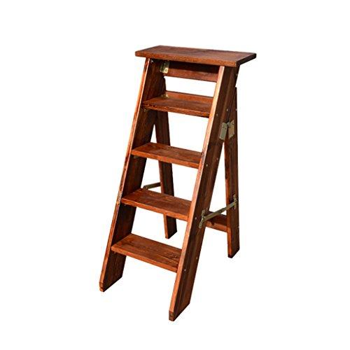 Wwq Haushaltsleiter Massivholz Leiter Verdickung Dachboden einseitig Holzleiter Klappleiter 5-stufig Innenbodentreppe, B, 35 * 65 * 100CM