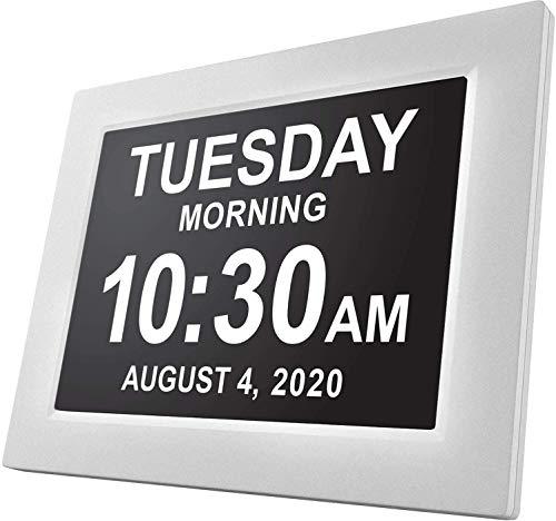GUASD Digitale Tagesuhr mit großem Kalender für Erinnerungsverlust Senioren Senioren Demenz Leiden Alzheimer Sehbehinderte Patienten Kinderzimmer, weiß, 8
