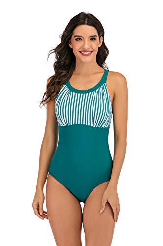 LA ORCHID Laorchid - Bañador para mujer con una pieza en la parte posterior del cuello, con correa para el hombro, para baño Verde y rayas. L