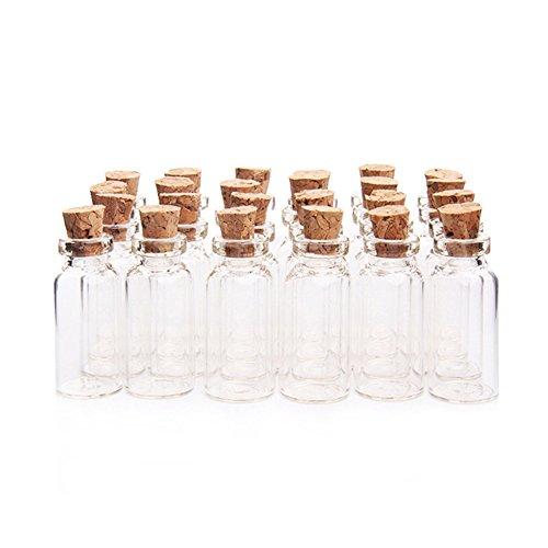 2ML 16x35mm kleine leere klare Korkglas Flaschen Fläschchen mit Korken Miniatur Glasflasche kleine Glas Mini-Flaschen mit Korken Top für DIY, Kunst, Handwerk, Dekoration, Party Favors (24st)