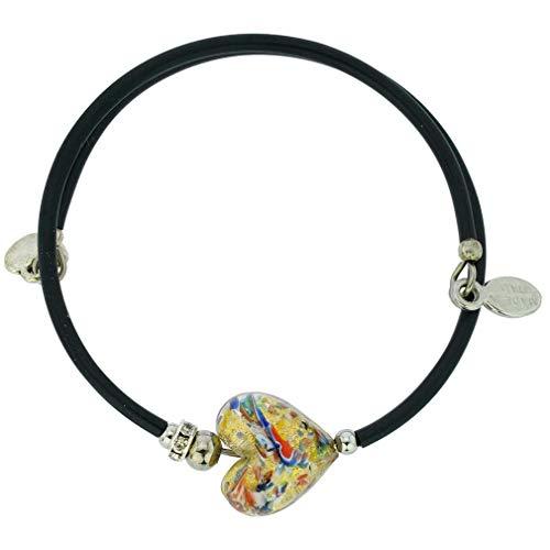 GlassOfVenice Pulsera veneciana de cristal de Murano, con forma de corazón, confeti multicolor