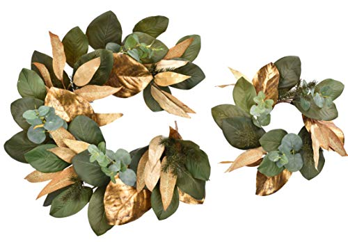 Cloris Art Christmas Wreaths for Indoors Front Door 16 Inch Eucalyptus & Magnolia Leaves + Pine Needle 4 ft Garland for Farmhouse Home Wedding Party Wall Window Decor(Gold & Green)