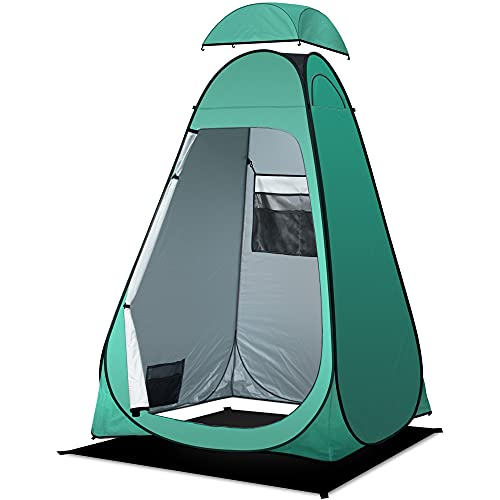 anngrowy Shower Tent Pop-Up Privacy Tent Camping Portable Toilet Tent Outdoor Camp Bathroom Changing Dressing Room Instant Privacy Shelters for Hiking Beach Picnic Fishing Potty, Extra-Tall, UPF 50+