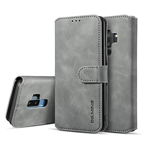 UEEBAI Handyhülle für Samsung Galaxy S9 Plus, Hülle Retro Premium PU Leder Weich Klapphülle Magnetverschluss Wallet Kartenfach Standfunktion Cover Anti Kratzern Flip Hülle Trageband Schutzhülle - Grau