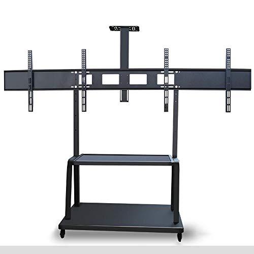 dehong Stainless Steel TV Floor Stands for 39—75 Inches TVs,Black TV Floor Units for Living Room on Wheels Castors Up to 150KG Tilting Height Adjustable,Max VESA 600x400mm