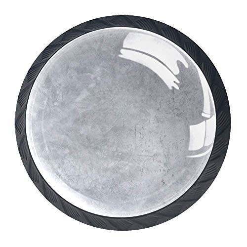 Runde Knöpfe Schrankgriffe Schubladengriff Stil Design Küche Tür Schublade Schrank Griffe Kunststoff Wabengitter, Polierter Beton-Zement., 3.5×2.8CM/1.38×1.10IN