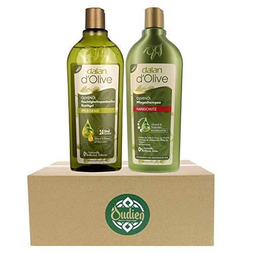 OUDIEN 2er Set dalan d'Olive pflegendes Duschgel und Farbschutz Shampoo je 400 ml, Pflegedusche mit Olivenöl, Haarshampoo für Farbglanz