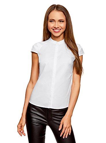 oodji Ultra Damen Bluse aus Baumwolle mit Kurzen Ärmeln, Weiß, DE 42 / EU 44 / XL
