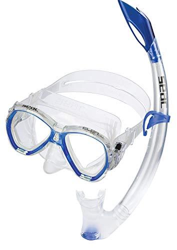 Seac Unisex Jugend Set Elba MD Valve Schnorchelset mit Maske und Schnorchel mit Wasserausblasventil für Kinder, blau, medium