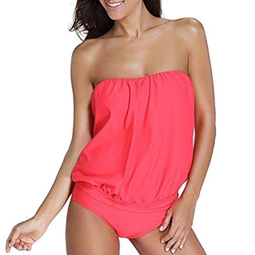 Flypv Donne Sexy a Fascia Tankini con Riassunti 2 PCS Costume da Bagno Bikini (EU 40, Rosso)