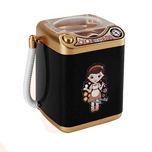 Mikiya Toy Mini washing machine Mini elektrische Waschmaschine Puppenhaus Spielzeug sehr nützlich waschen Make-up Pinsel (Schwarz)