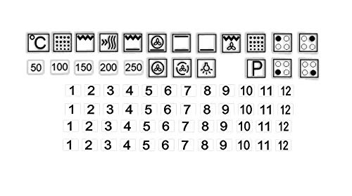 Generisch Juego de pegatinas para el interruptor de la cocina (10 x 10 mm), diseño de símbolos sobre fondo transparente