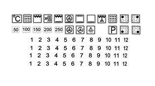 Generisch EIN Set Herd Aufkleber E Herd Beschriftung Ofen Koch Schalter Zeichen, Schwarze Symbole auf transparenten Grund (R74/3) (25x25mm)