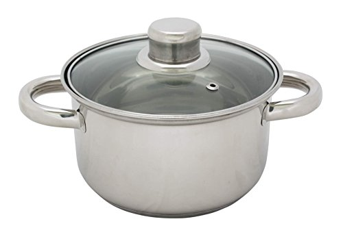 Kochtopf Edelstahl mit Glasdeckel 1 L 14 cm Topf Kochen