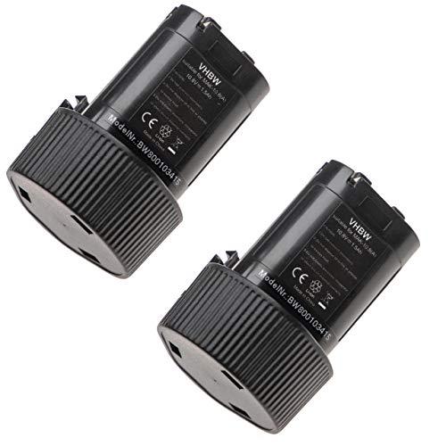 2 x vhbw Akku Set 1500mAh kompatibel mit Werkzeug Makita Baustellenradio DMR106, DMR106B, DMR107, DMR108.