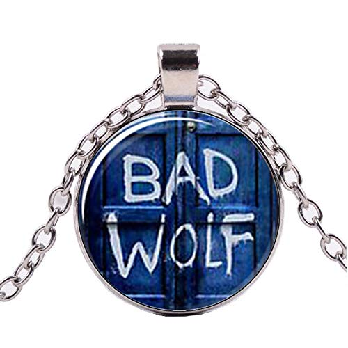 DADATU Halsketten für Herren Glas-kuppel-anhänger, Arzt, Der Inspiriert Bad Wolf Tardis Halskette, Handgefertigt, Glas Cabochon