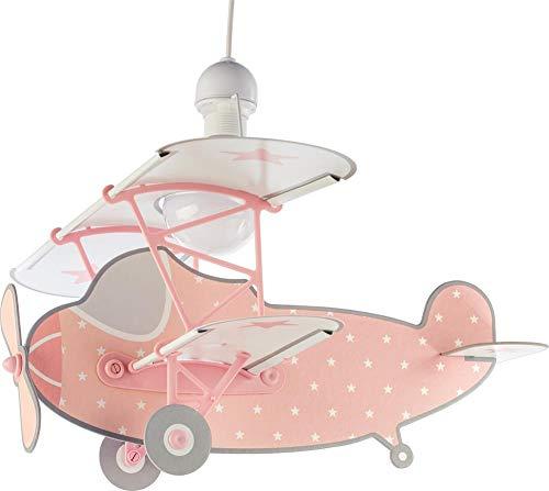 Dalber Lámpara Infantil de Techo Stars Plane Avión Rosa, Talla Única
