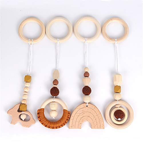 4 piezas de juguete para el gimnasio del bebé, de madera, para colgar en el cochecito, juguete (marrón)