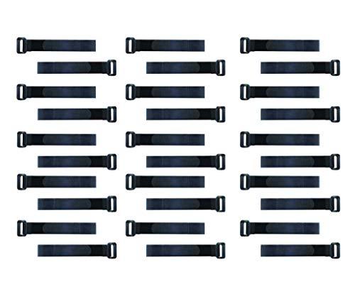 30x Wiederverwendbare Kabelbinder | hochwertiges Klett Material | Starken Ösen | Schwarz | Wiederverschließbare Klettkabelbinder